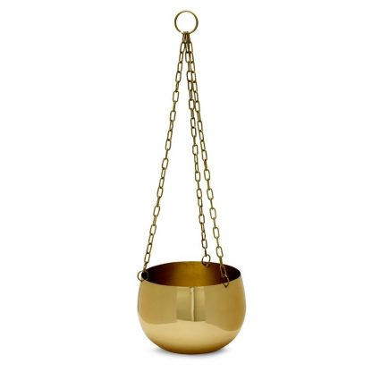 Real Brass Hanging Planter Large