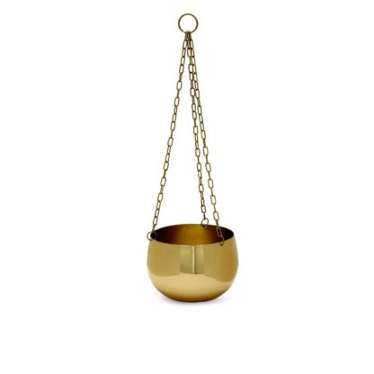 Real Brass Hanging Planter Small