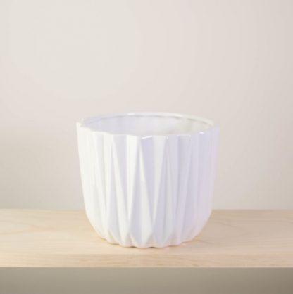 White Geometric Plant Pot, Gloss Finish