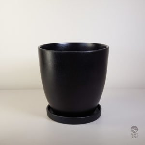 Black Ceramic Pot with Saucer XL