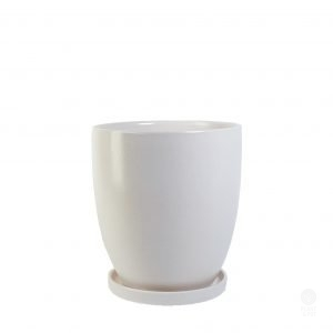 White Ceramic Pot with Saucer Large