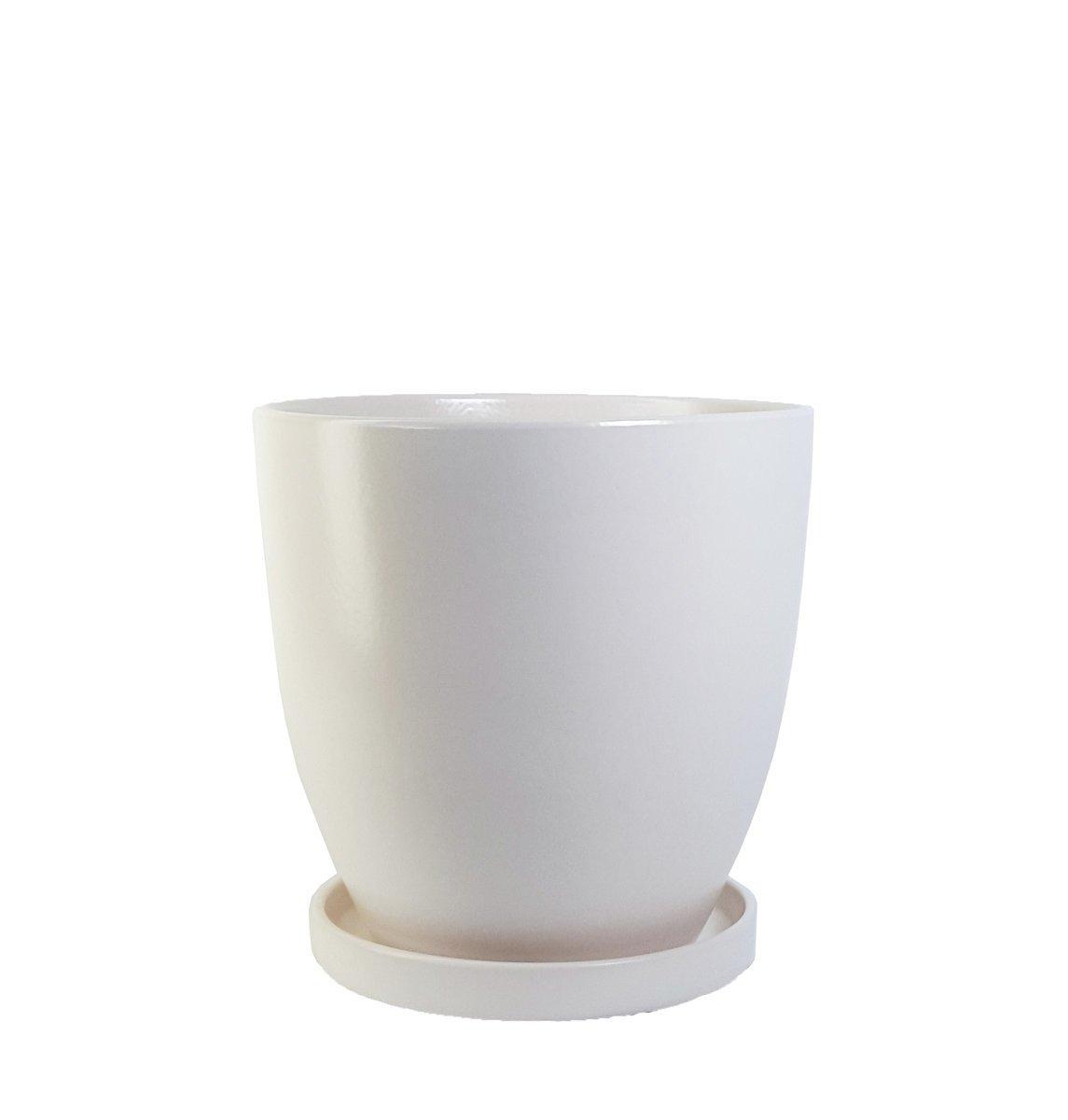 White Ceramic Plant Pot With Saucer Xl