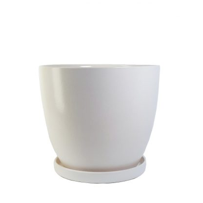 White Ceramic Pot with Saucer XXL