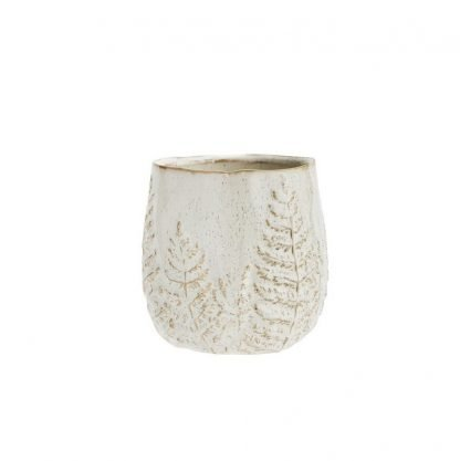 Madam Stoltz Stoneware Flower Pot with Leaf Pattern