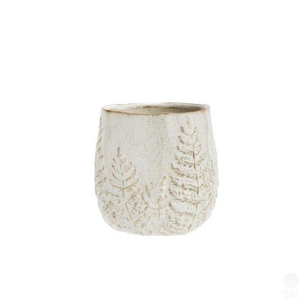 Madam Stoltz Stoneware Flower Pot with Leaf Pattern