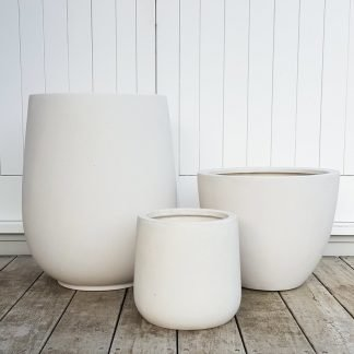 Trio of Lightweight Bianca Pots with Mixed Shapes